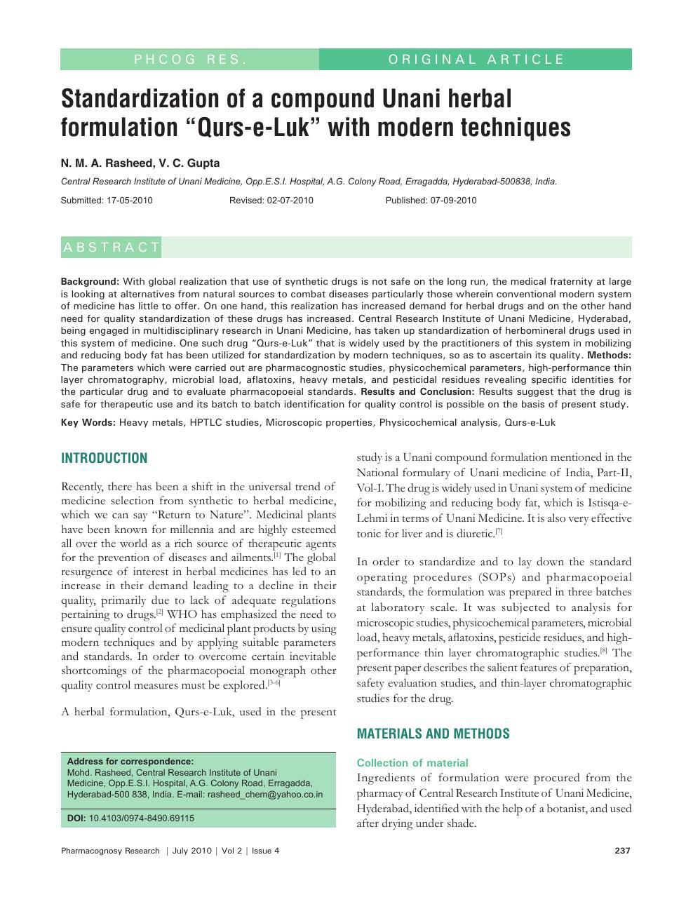 Standardization Of A Compound Unani Herbal Formulation Qurs