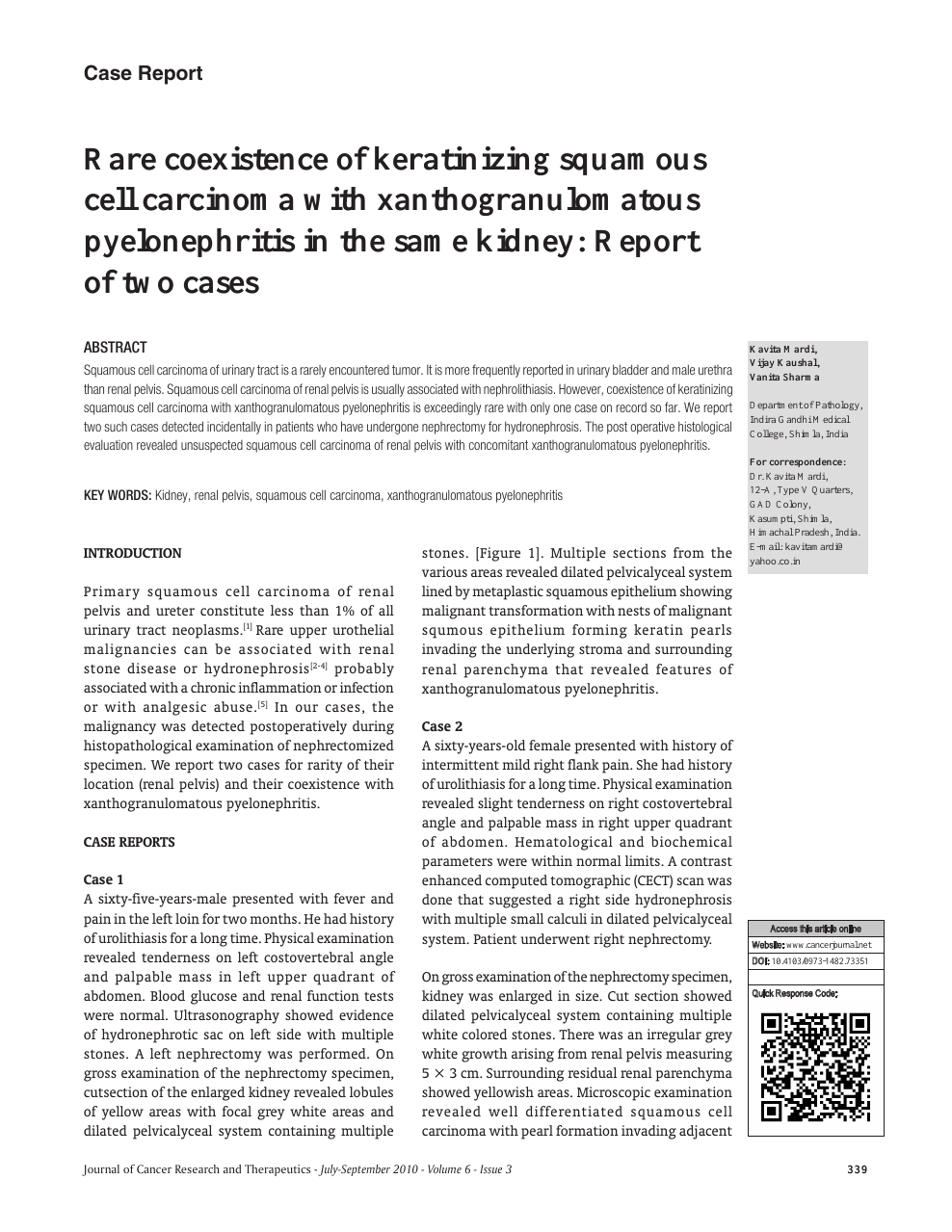 Rare Coexistence Of Keratinizing Squamous Cell Carcinoma With Xanthogranulomatous Pyelonephritis In The Same Kidney Report Of Two Cases Topic Of Research Paper In Clinical Medicine Download Scholarly Article Pdf And Read
