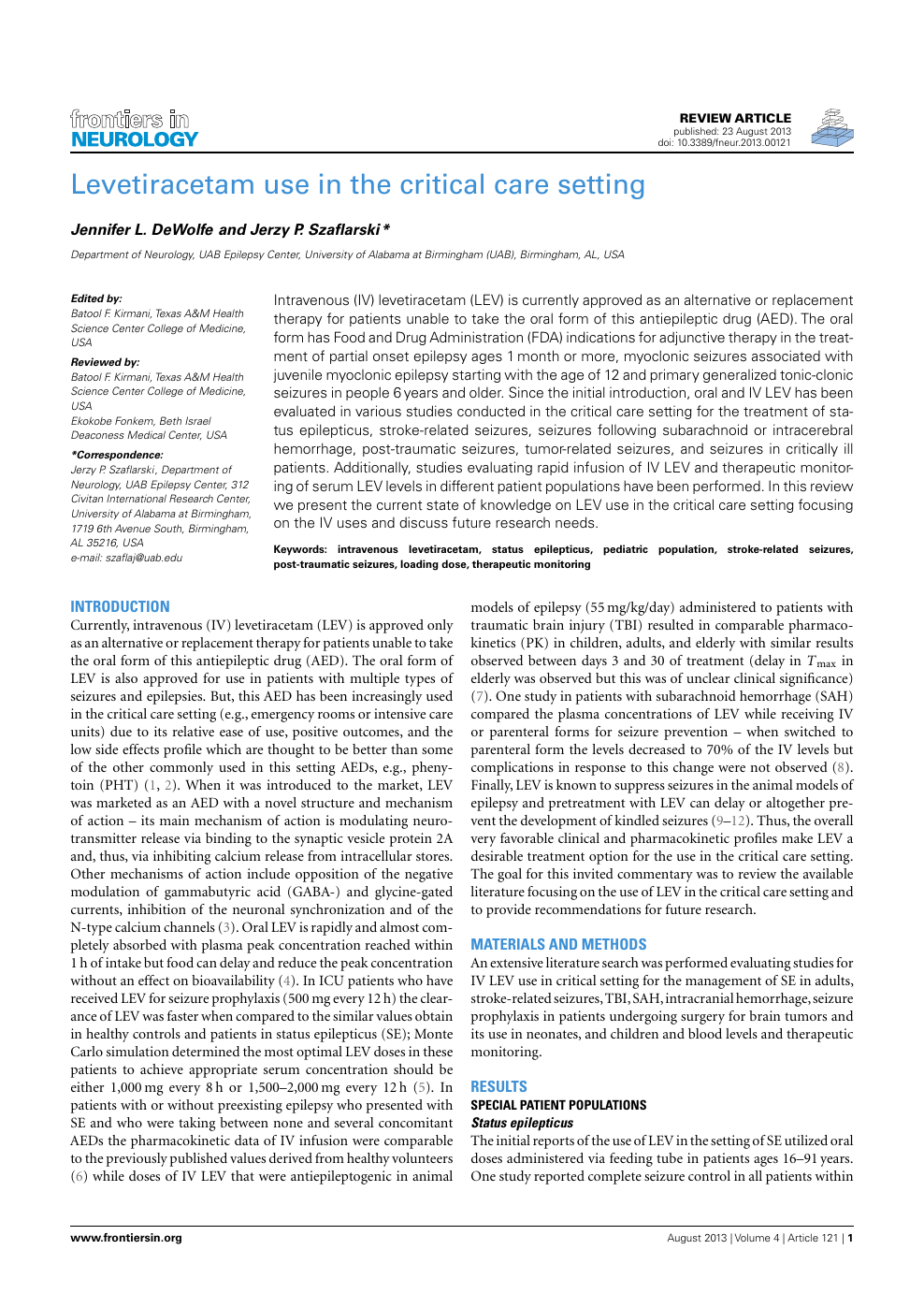 Levetiracetam Use in the Critical Care Setting – topic of research