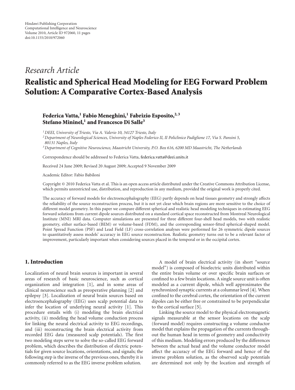 Realistic and Spherical Head Modeling for EEG Forward