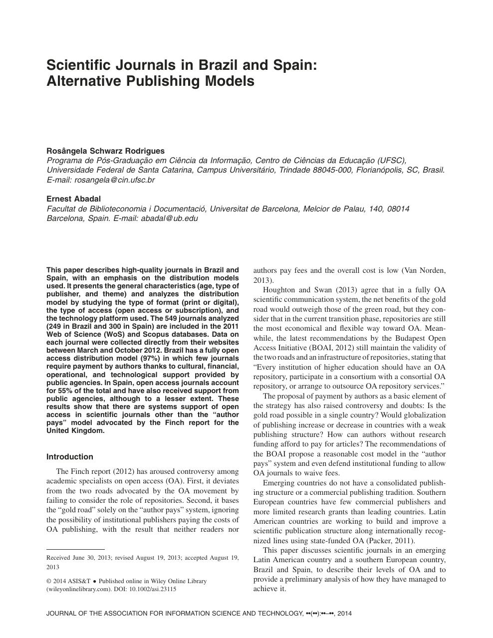 Scientific journals in Brazil and Spain: Alternative