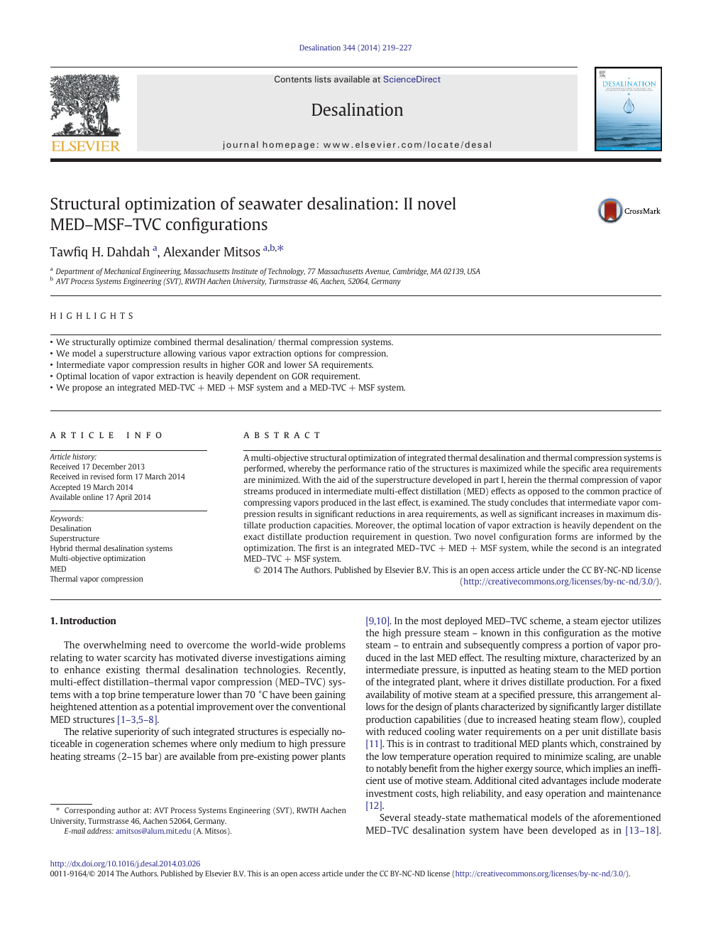 Structural optimization of seawater desalination: II novel