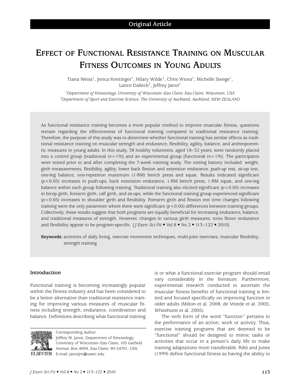 Effect of Functional Resistance Training on Muscular Fitness