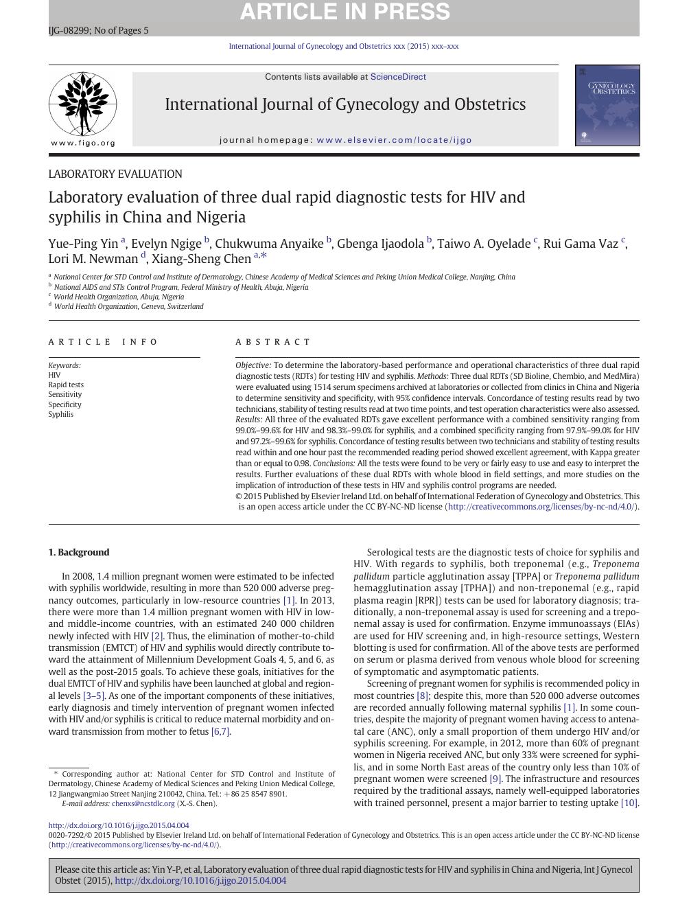 Laboratory evaluation of three dual rapid diagnostic tests