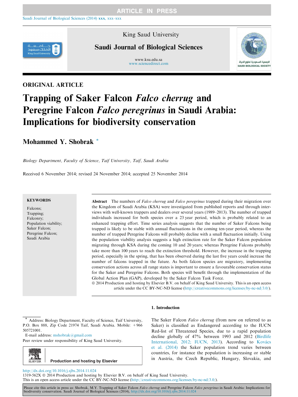Trapping Of Saker Falcon Falco Cherrug And Peregrine Falcon Falco Peregrinus In Saudi Arabia Implications For Biodiversity Conservation Topic Of Research Paper In History And Archaeology Download Scholarly Article Pdf And