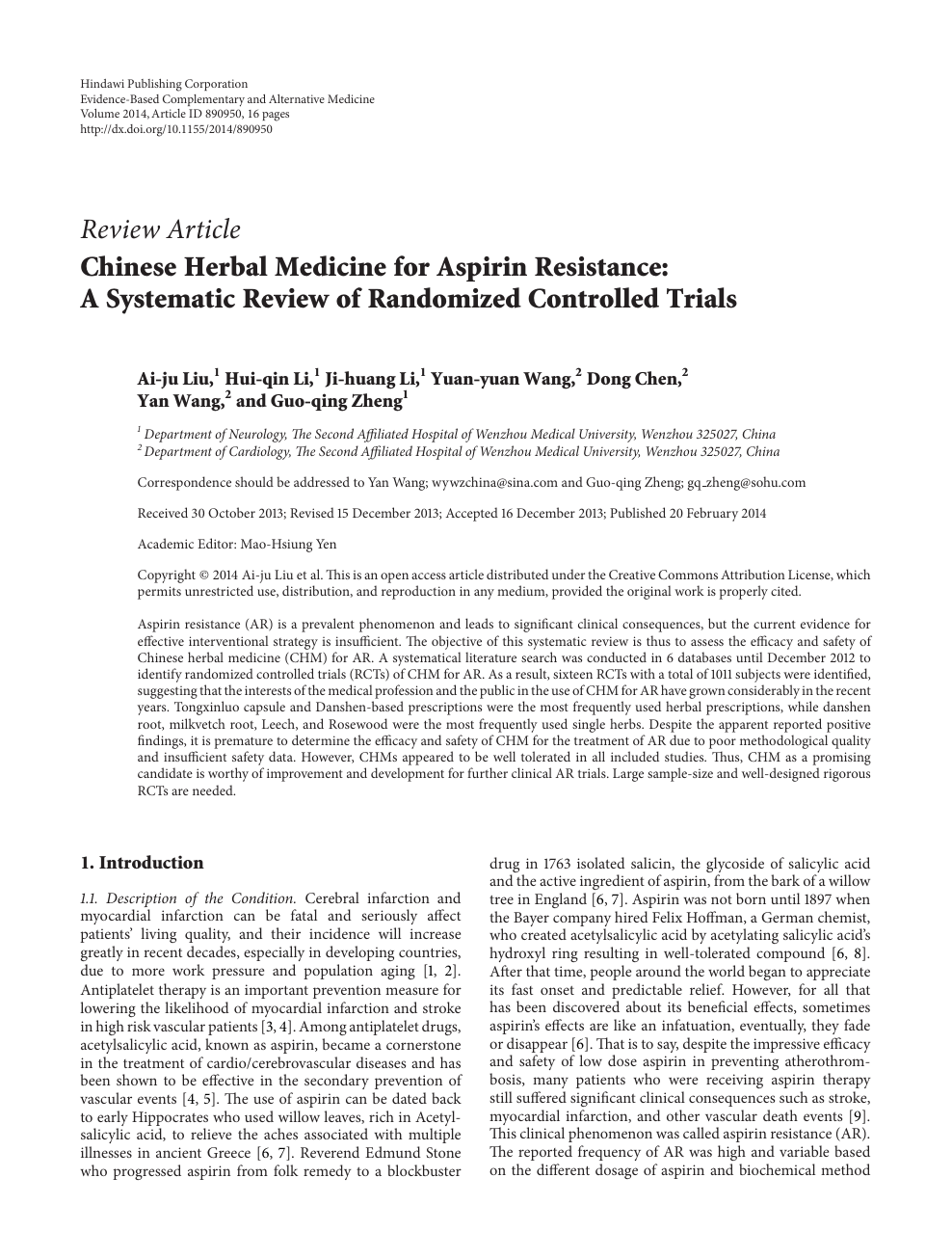 Chinese Herbal Medicine for Aspirin Resistance: A Systematic Review