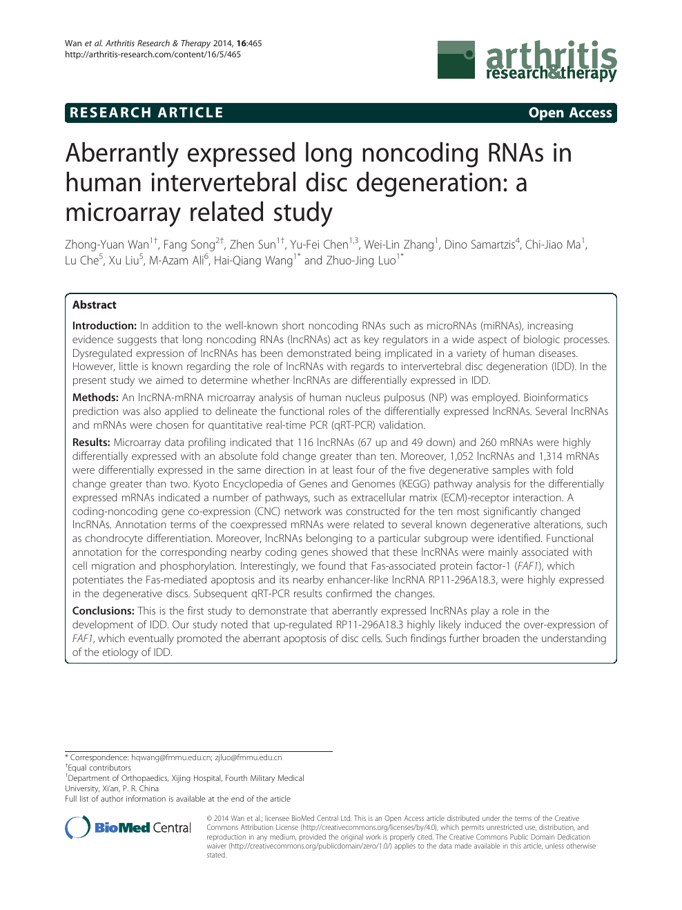 Aberrantly expressed long noncoding RNAs in human