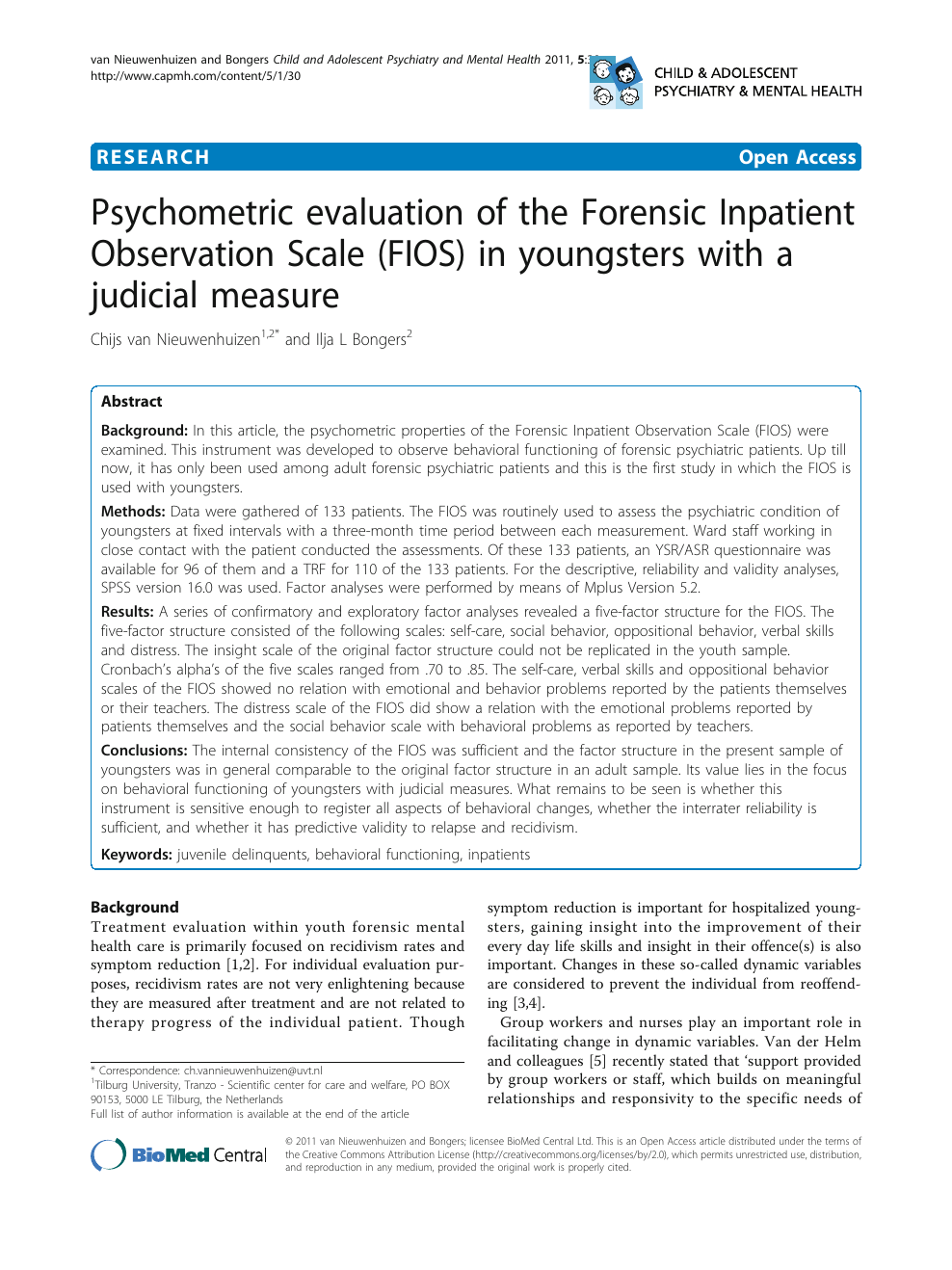 Psychometric Evaluation Of The Forensic Inpatient Observation Scale Fios In Youngsters With A Judicial Measure Topic Of Research Paper In Psychology Download Scholarly Article Pdf And Read For Free On Cyberleninka