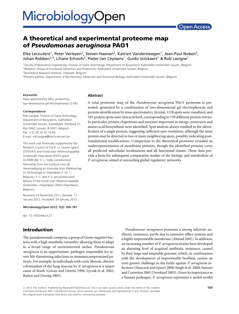A theoretical and experimental proteome map of Pseudomonas