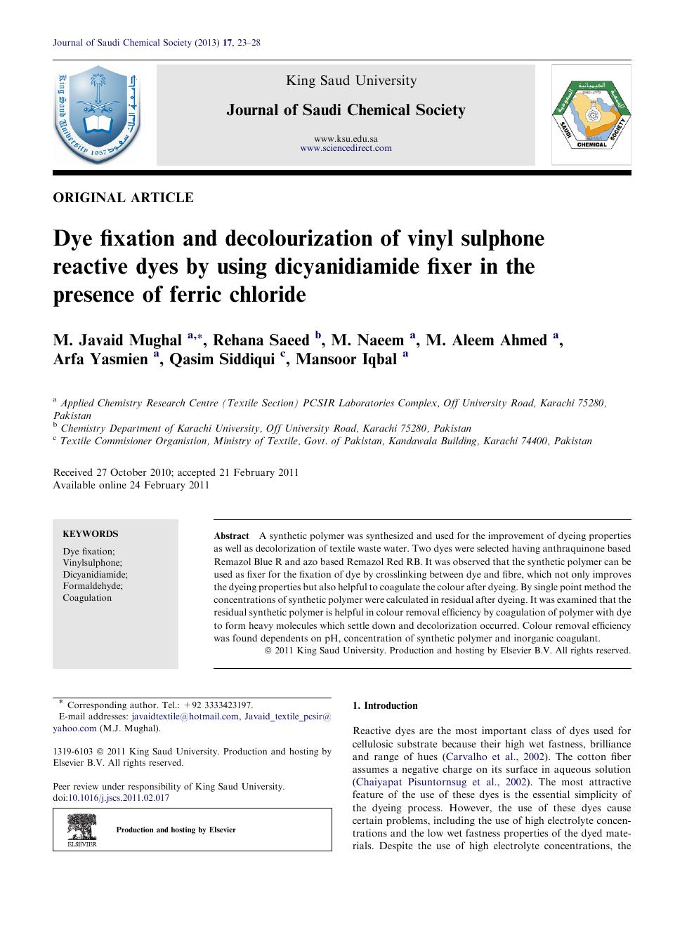 Dye fixation and decolourization of vinyl sulphone reactive