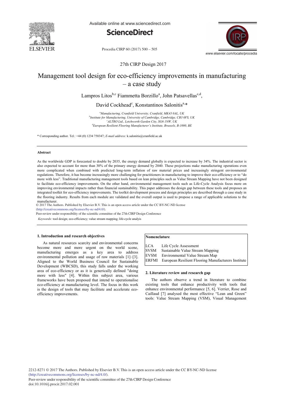 Management Tool Design for Eco-efficiency Improvements in
