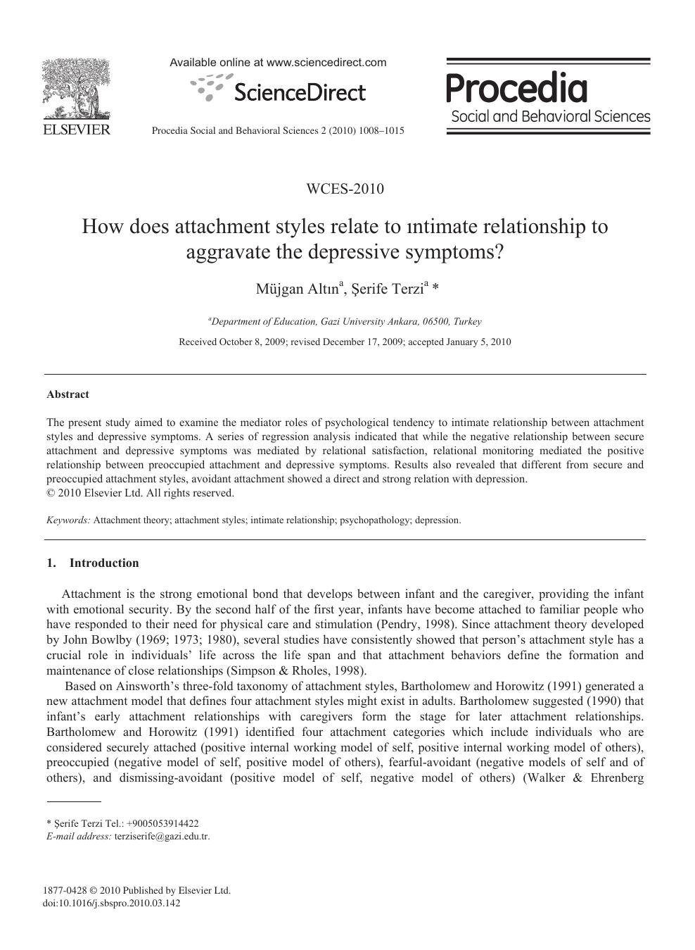 Scoring relationship questionnaire bartholomew Adult attachment