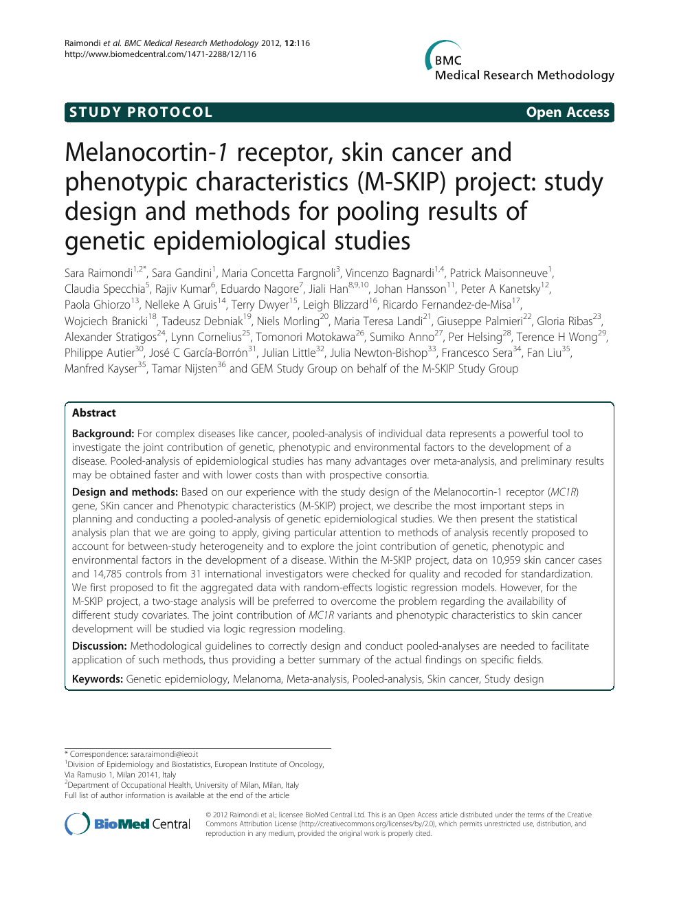 Melanocortin-1 receptor, skin cancer and phenotypic