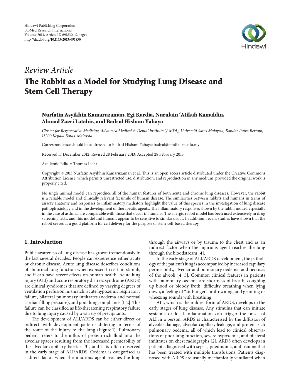The Rabbit as a Model for Studying Lung Disease and Stem