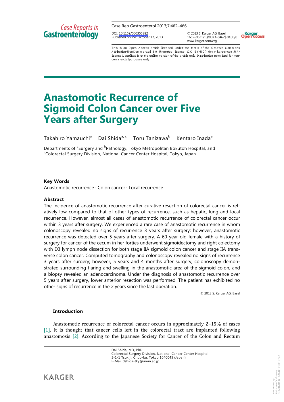 Anastomotic Recurrence Of Sigmoid Colon Cancer Over Five Years After Surgery Topic Of Research Paper In Clinical Medicine Download Scholarly Article Pdf And Read For Free On Cyberleninka Open Science Hub
