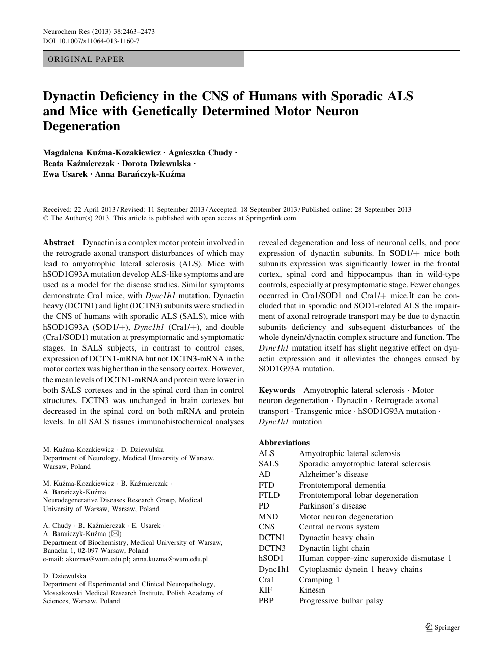 Dynactin Deficiency in the CNS of Humans with Sporadic ALS and Mice
