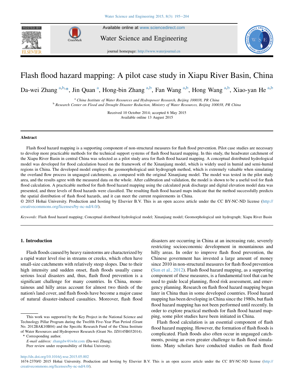 Flash flood hazard mapping: A pilot case study in Xiapu