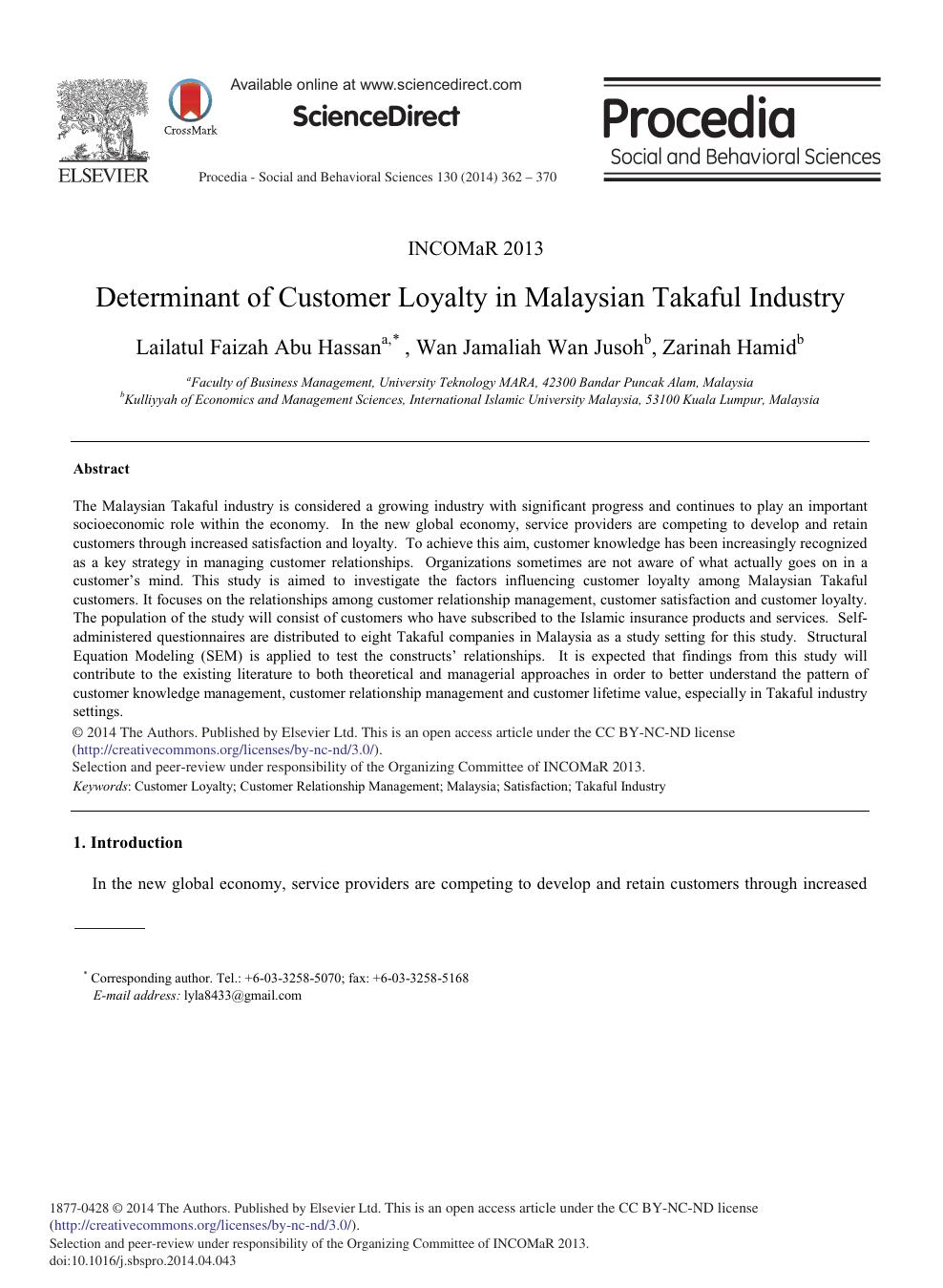 Determinant of Customer Loyalty in Malaysian Takaful