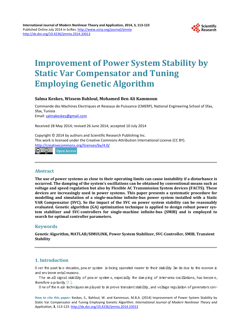 Improvement of Power System Stability by Static Var