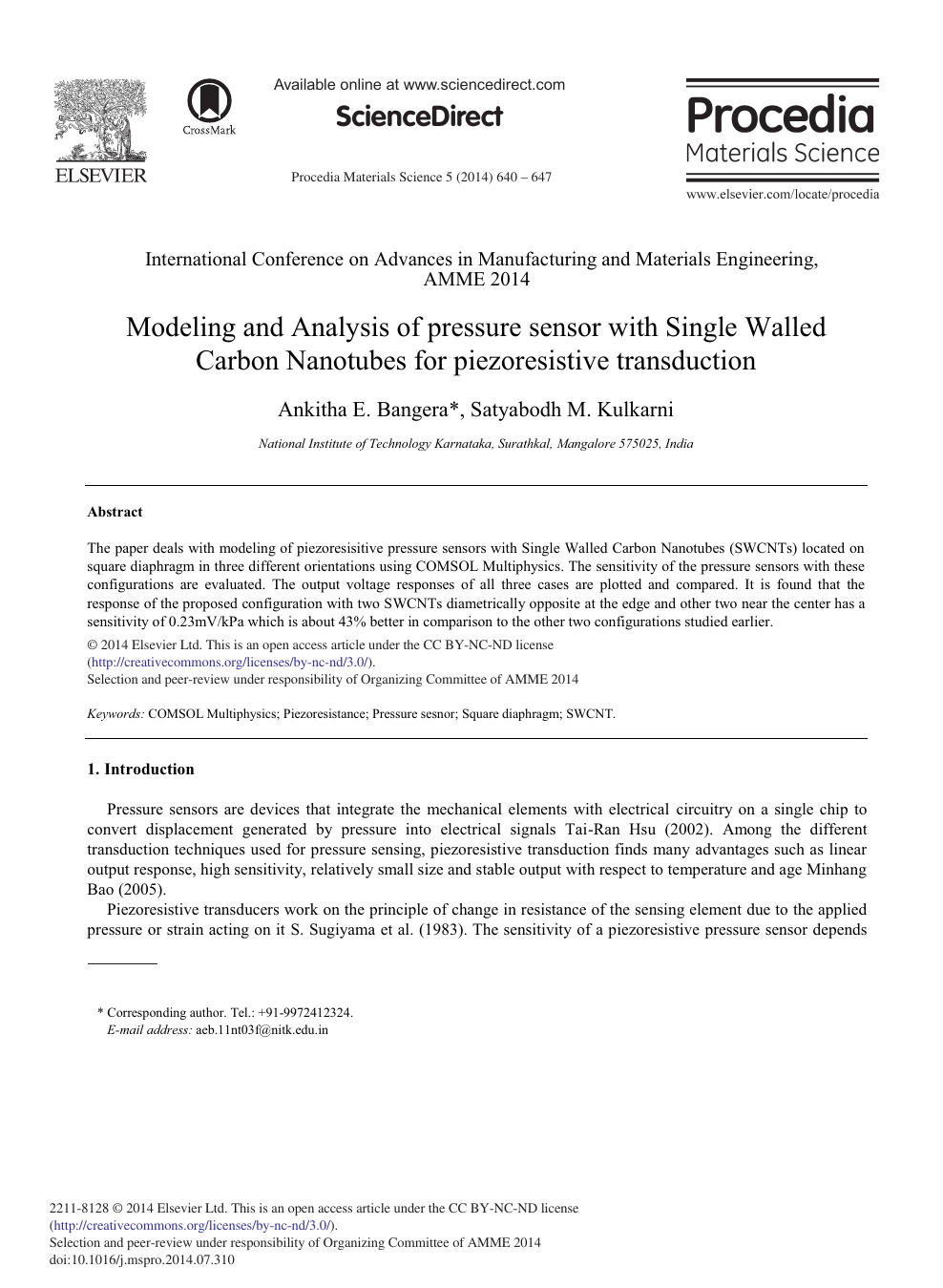 Modeling And Analysis Of Pressure Sensor With Single Walled Carbon Nanotubes For Piezoresistive Transduction Topic Of Research Paper In Materials Engineering Download Scholarly Article Pdf And Read For Free On Cyberleninka