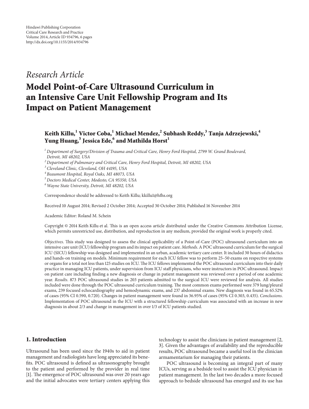 Model Point-of-Care Ultrasound Curriculum in an Intensive