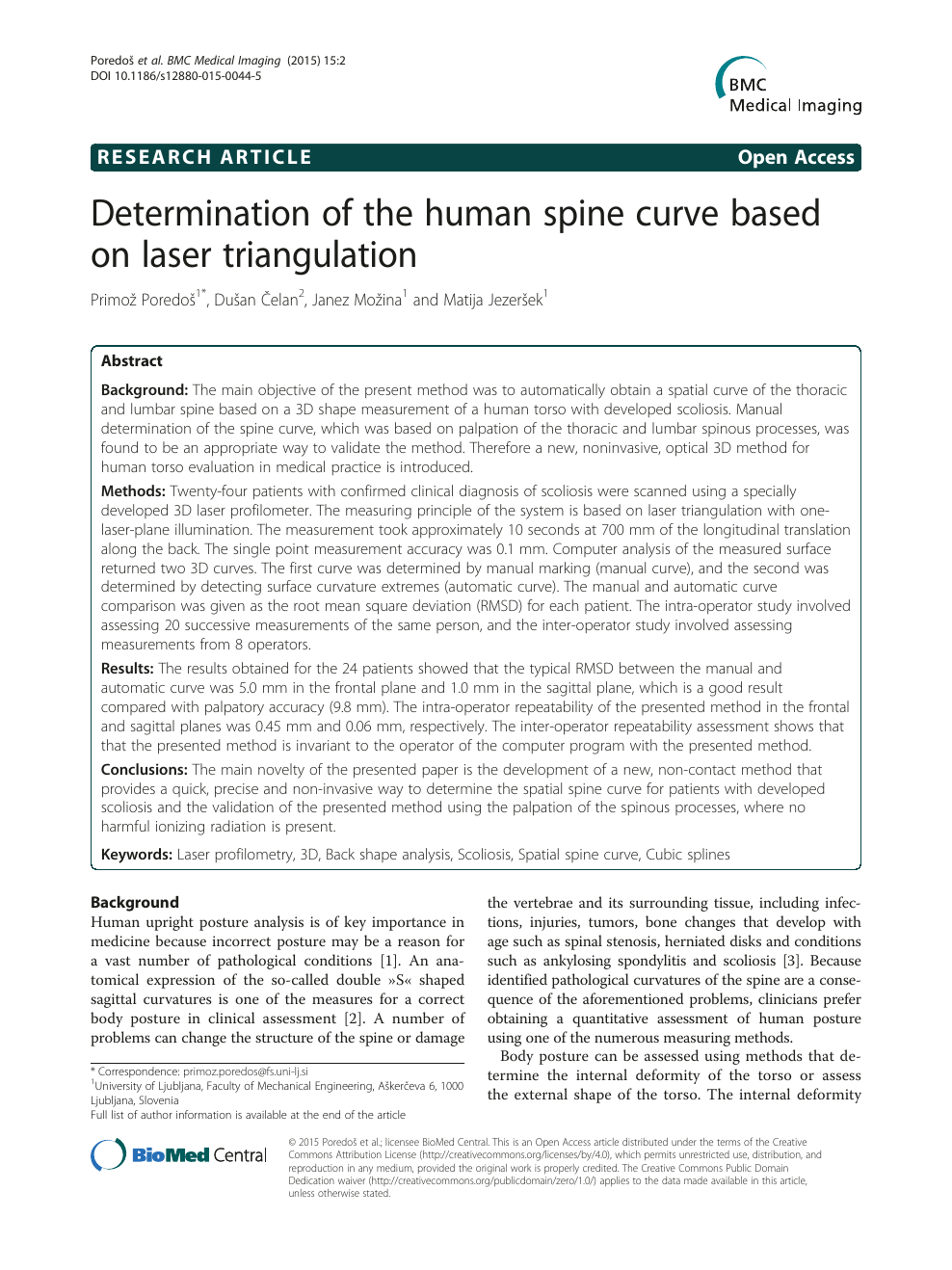 Determination of the human spine curve based on laser