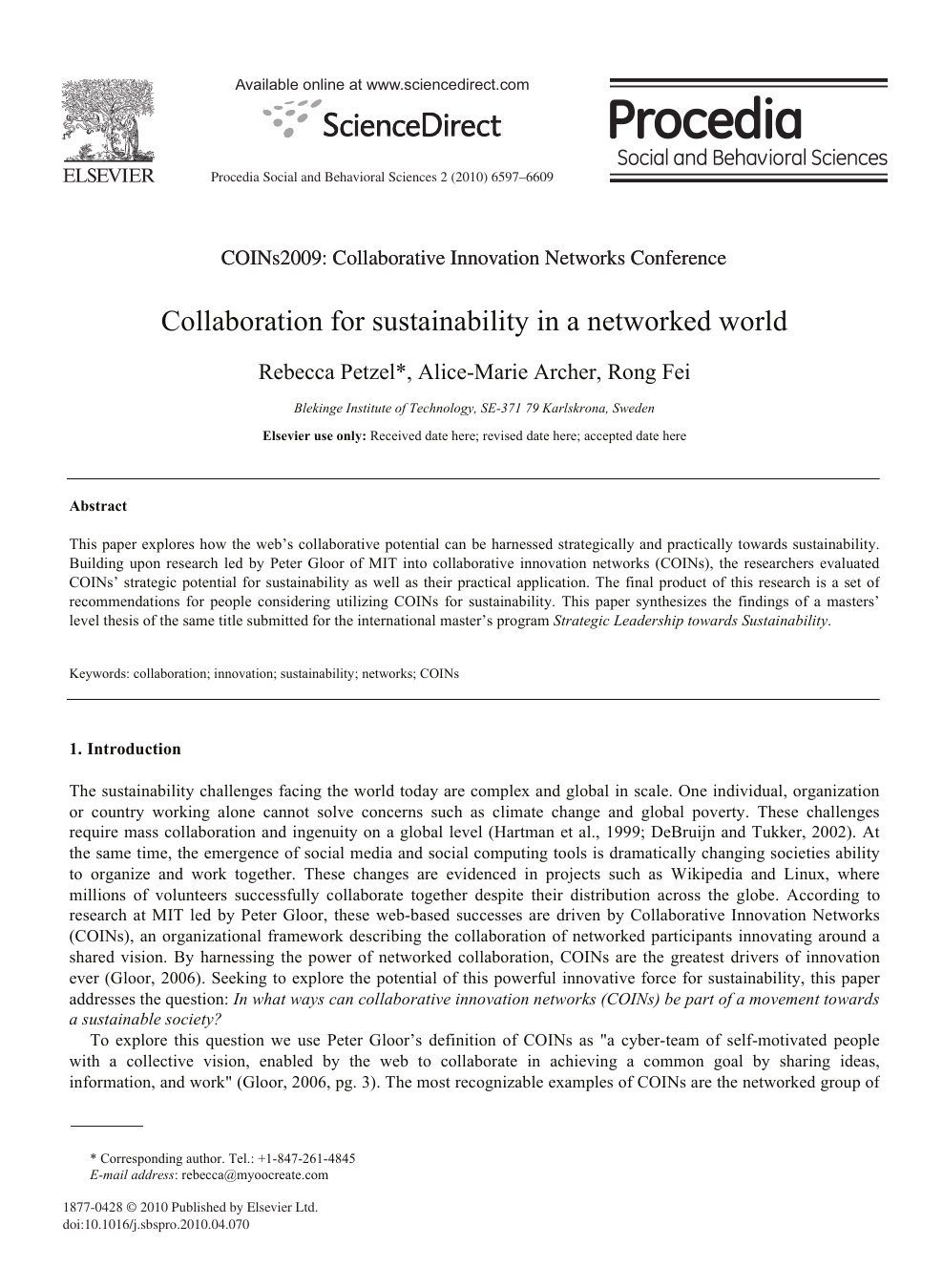 Collaboration For Sustainability In A Networked World Topic Of