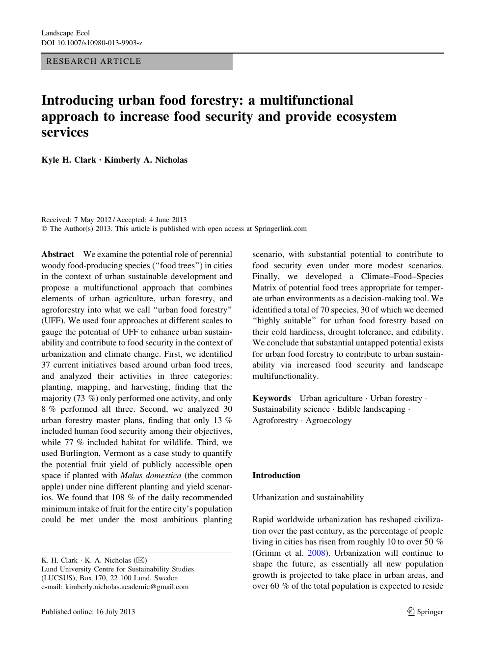 Introducing urban food forestry: a multifunctional approach