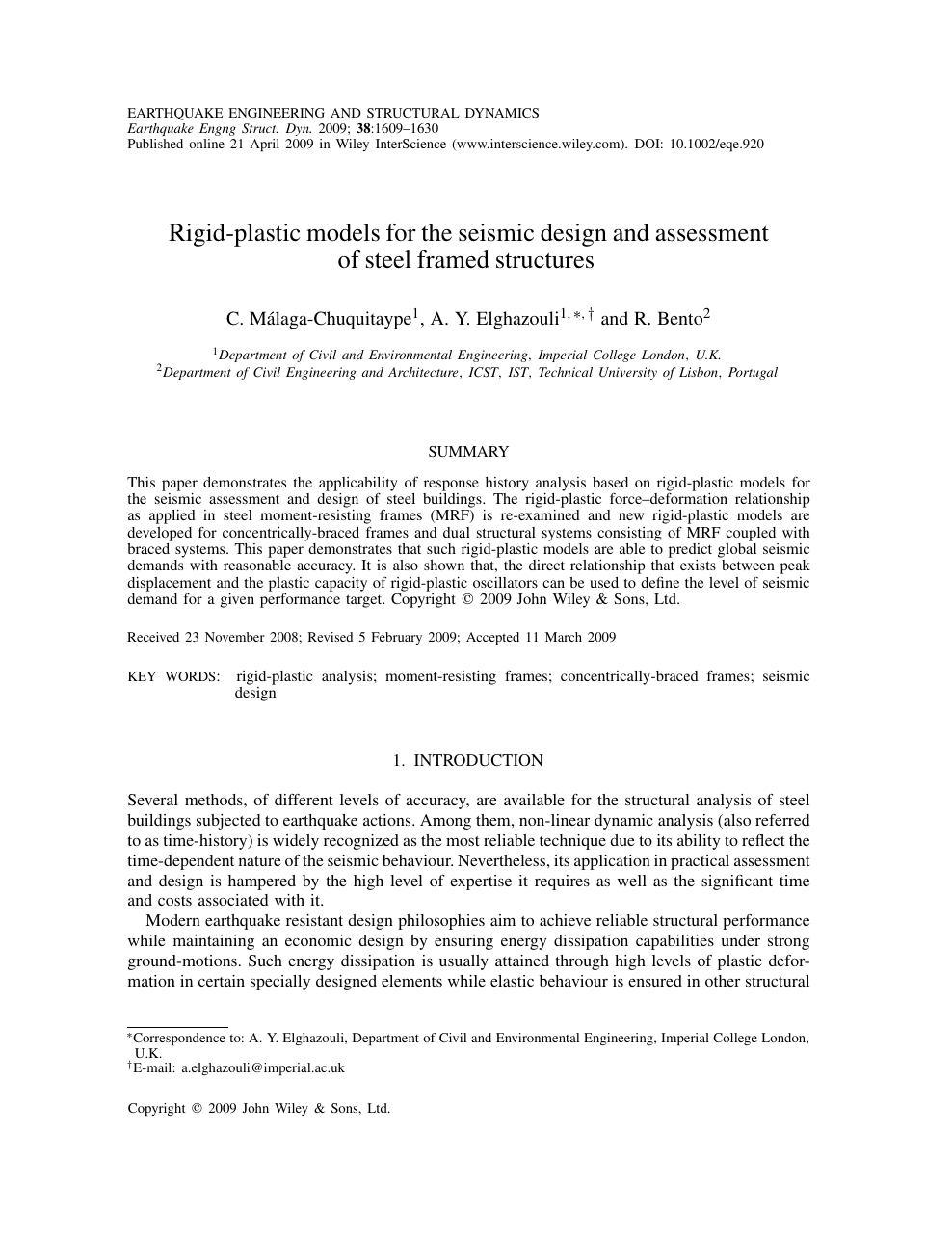 Rigid-plastic models for the seismic design and assessment