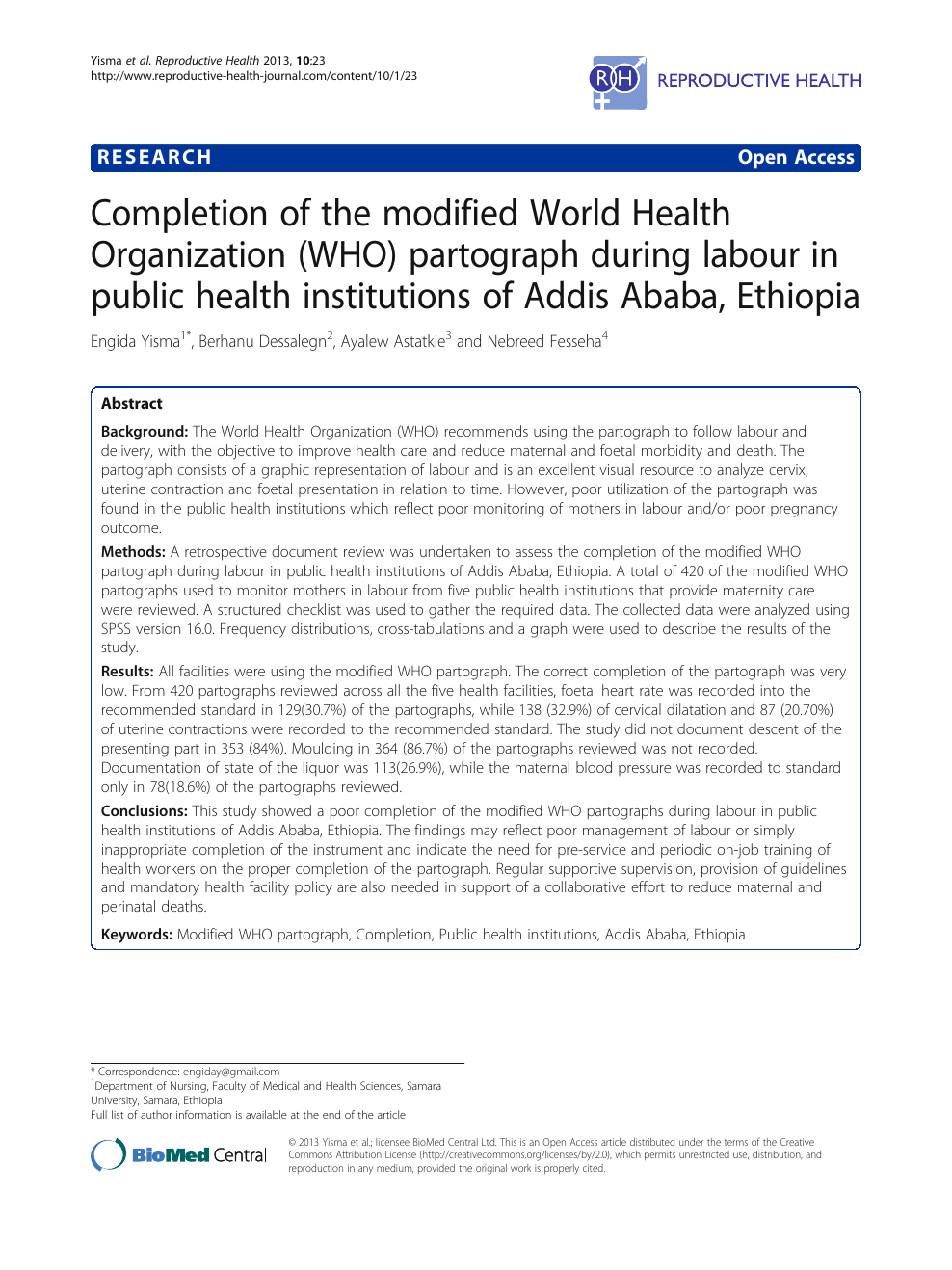 Completion of the modified World Health Organization (WHO