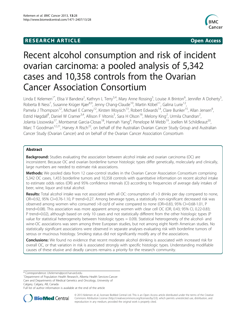 Recent alcohol consumption and risk of incident ovarian carcinoma: a