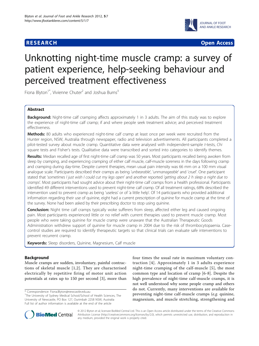 Unknotting night-time muscle cramp: a survey of patient