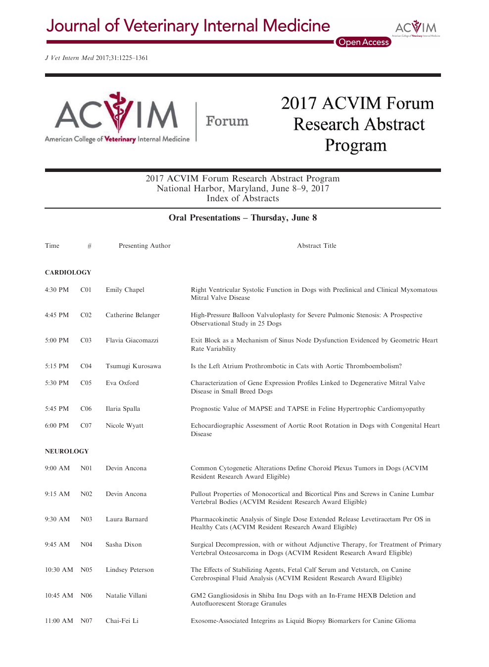 2017 Acvim Forum Research Abstract Program Topic Of Research Paper