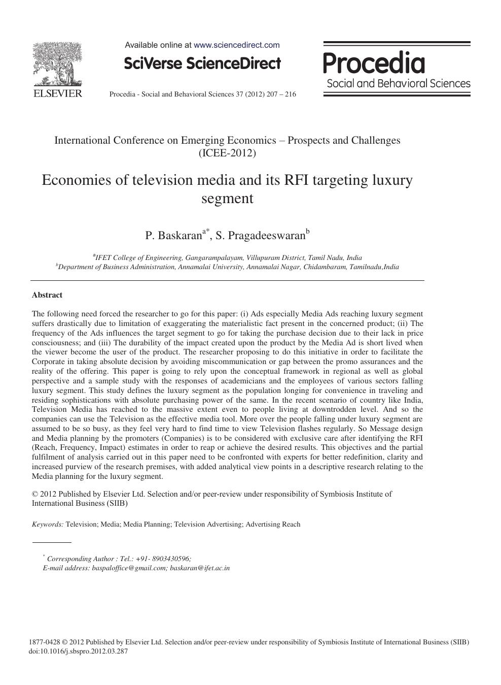 Economies of Television Media and its RFI Targeting Luxury Segment