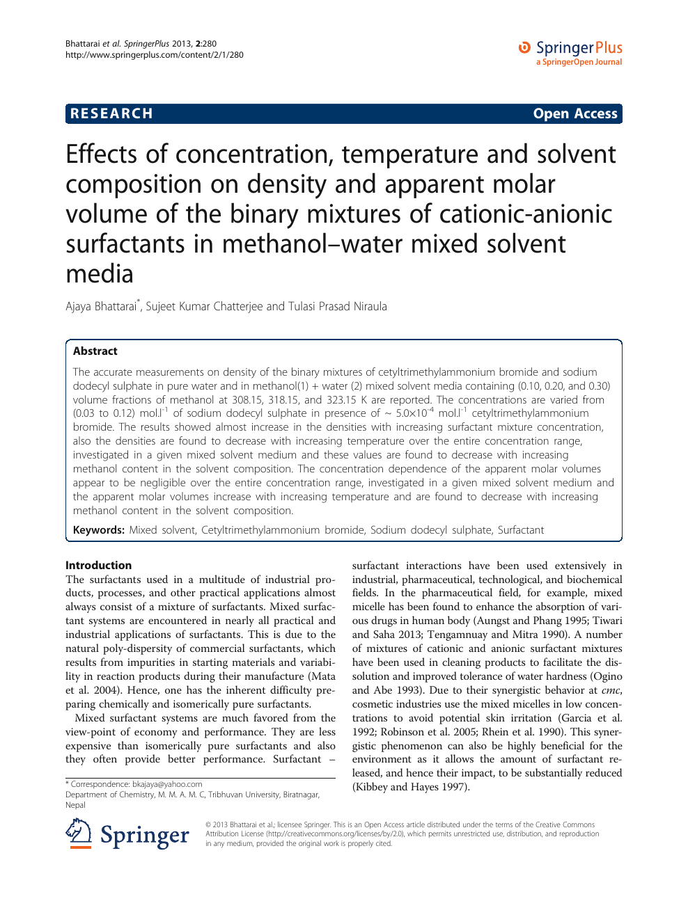 Effects of concentration, temperature and solvent
