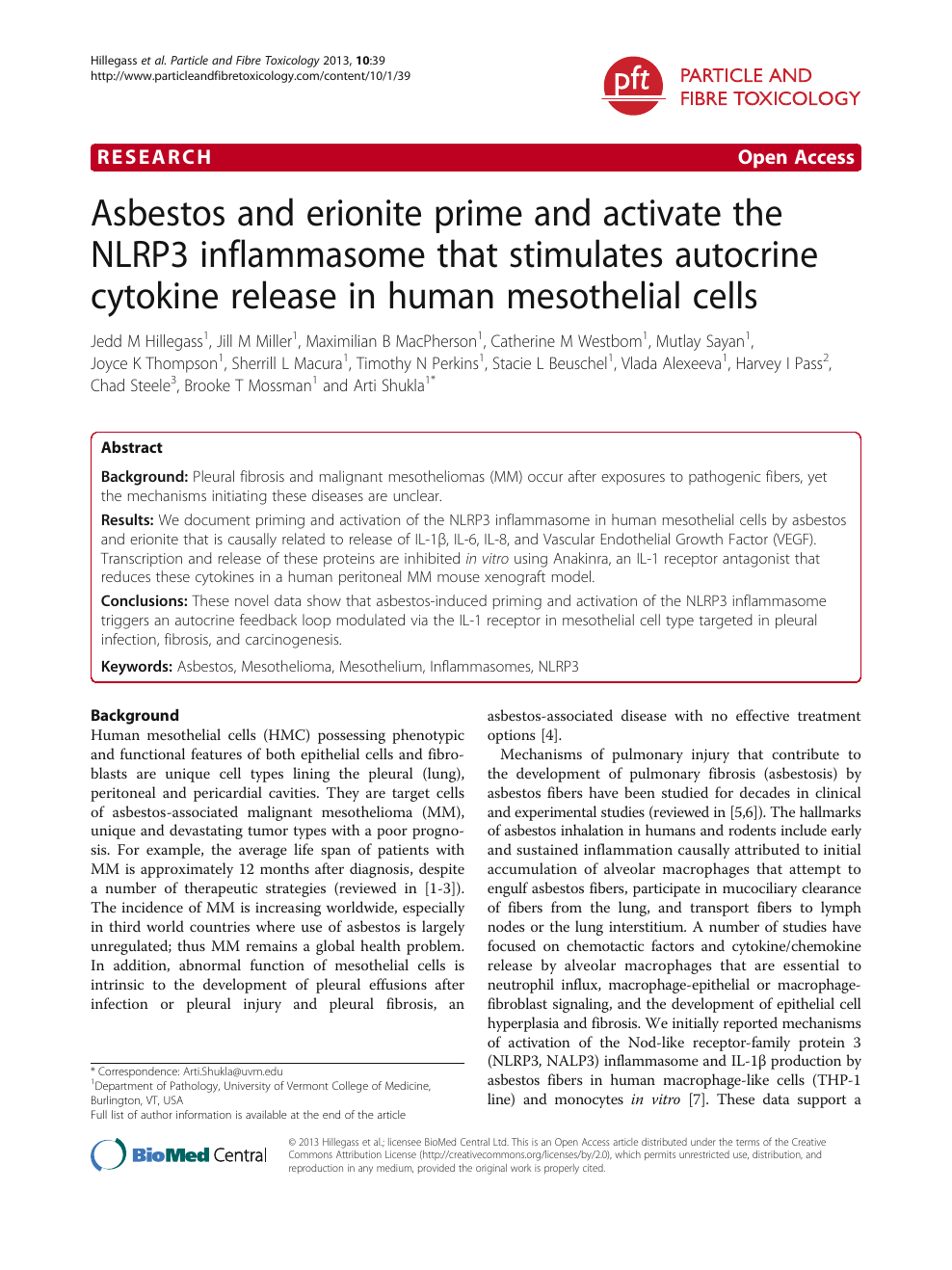 Asbestos and erionite prime and activate the NLRP3