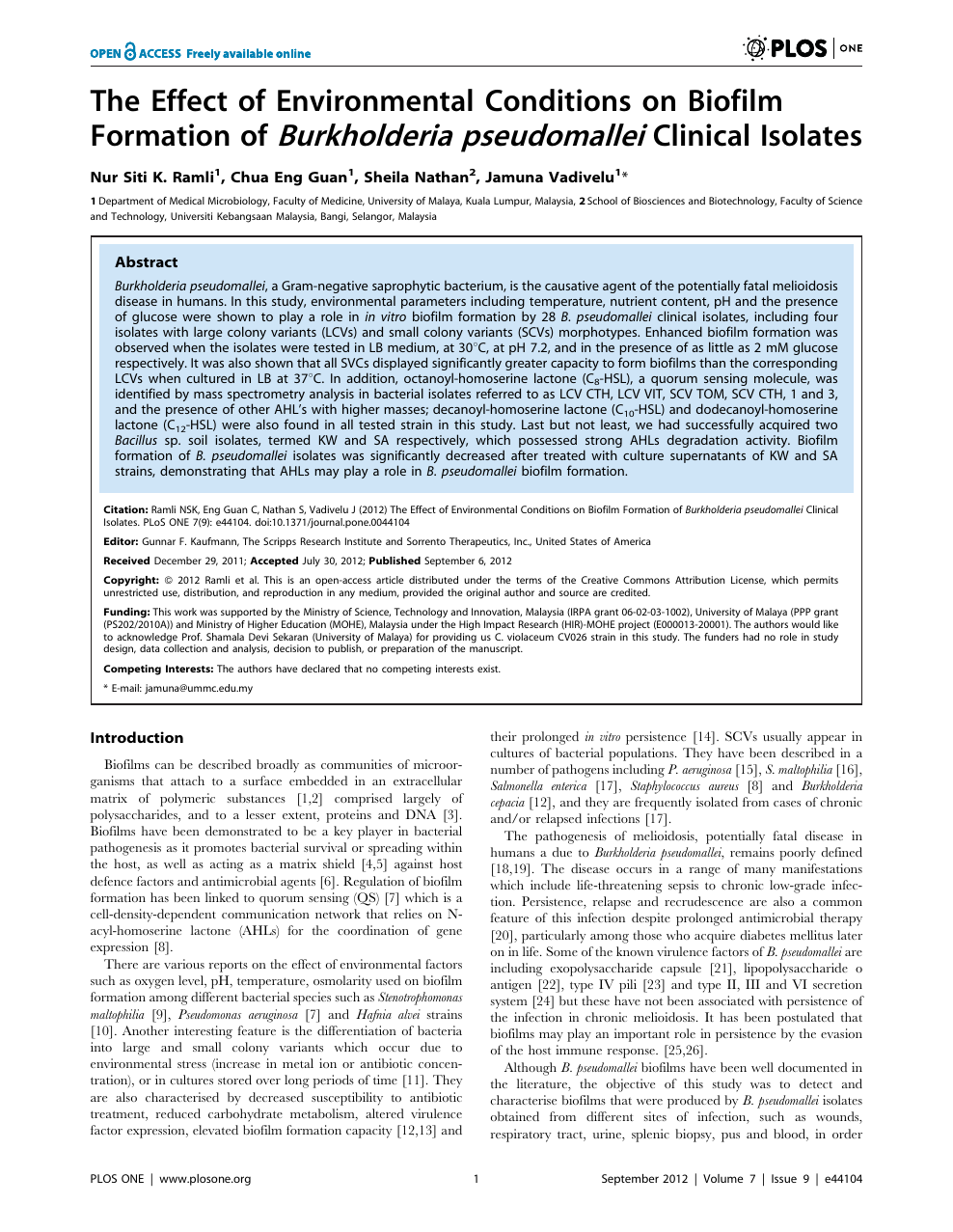 The Effect of Environmental Conditions on Biofilm Formation