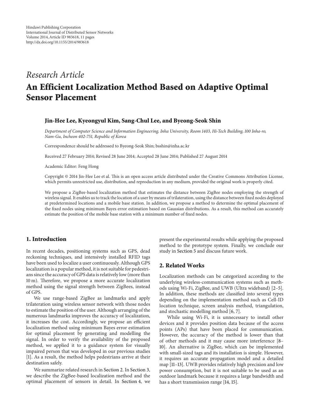An Efficient Localization Method Based on Adaptive Optimal