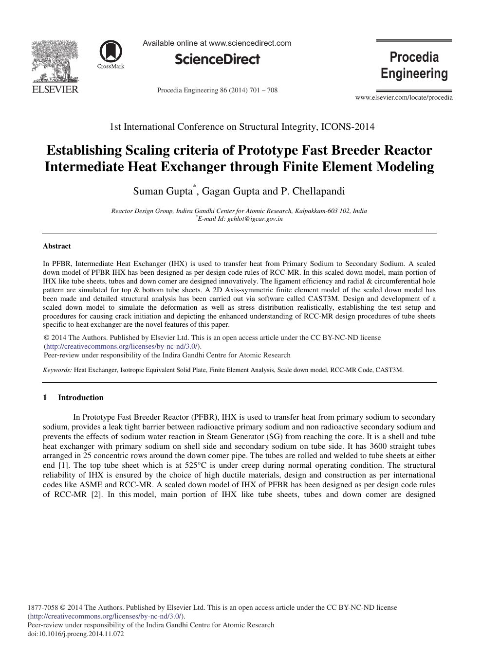 Establishing Scaling Criteria Of Prototype Fast Breeder Reactor Intermediate Heat Exchanger Through Finite Element Modeling Topic Of Research Paper In Materials Engineering Download Scholarly Article Pdf And Read For Free On