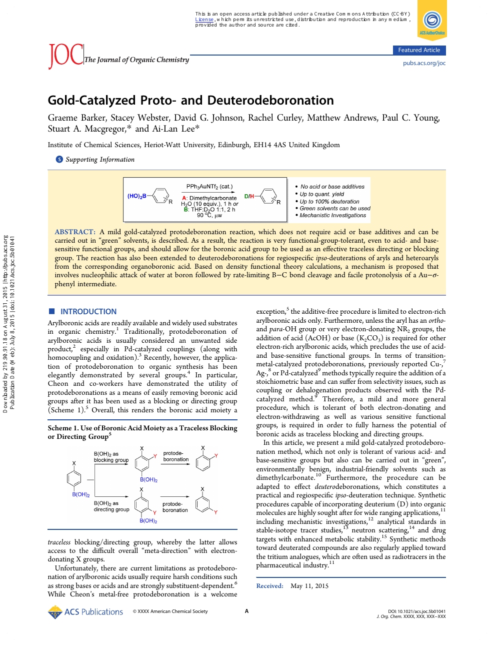 Gold-Catalyzed Proto- and Deuterodeboronation – topic of
