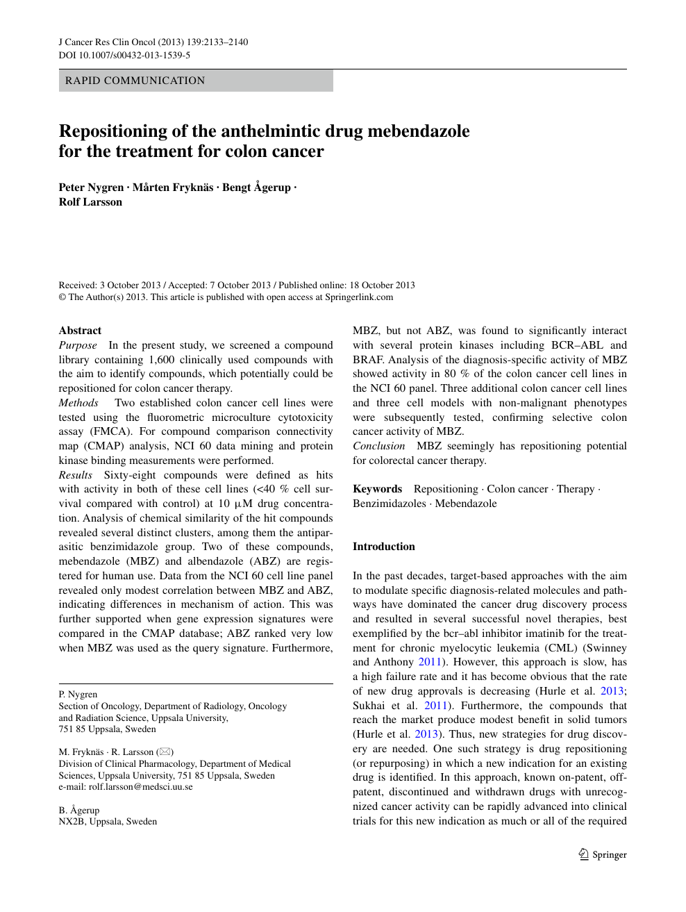 Repositioning Of The Anthelmintic Drug Mebendazole For The Treatment For Colon Cancer Topic Of Research Paper In Chemical Sciences Download Scholarly Article Pdf And Read For Free On Cyberleninka Open Science