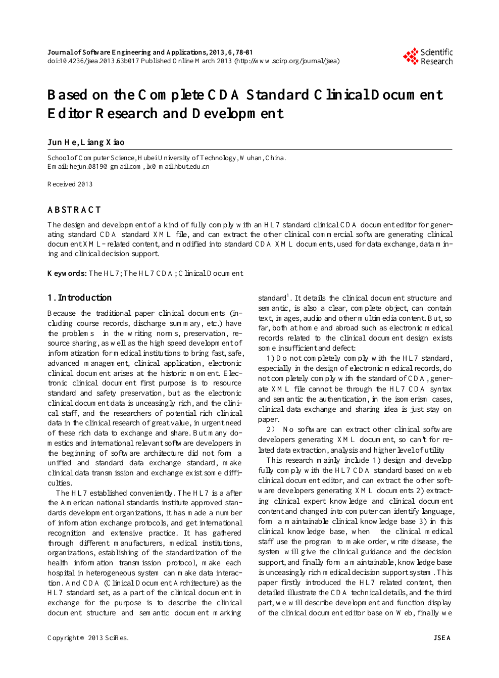 Based on the Complete CDA Standard Clinical Document Editor