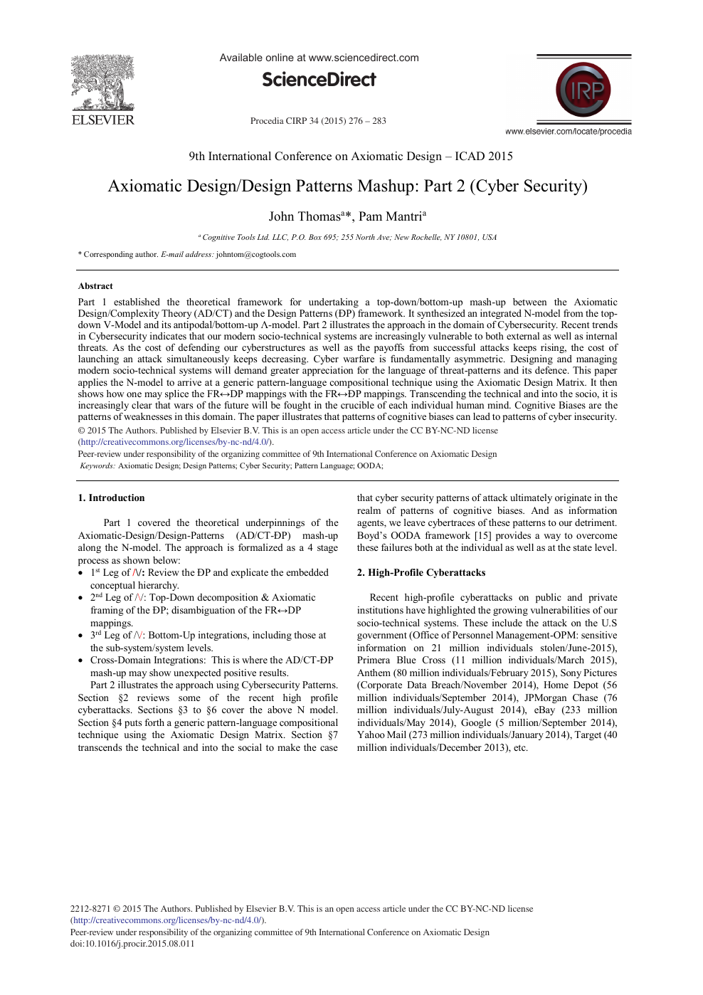 Axiomatic Design/Design Patterns Mashup: Part 2 (Cyber Security
