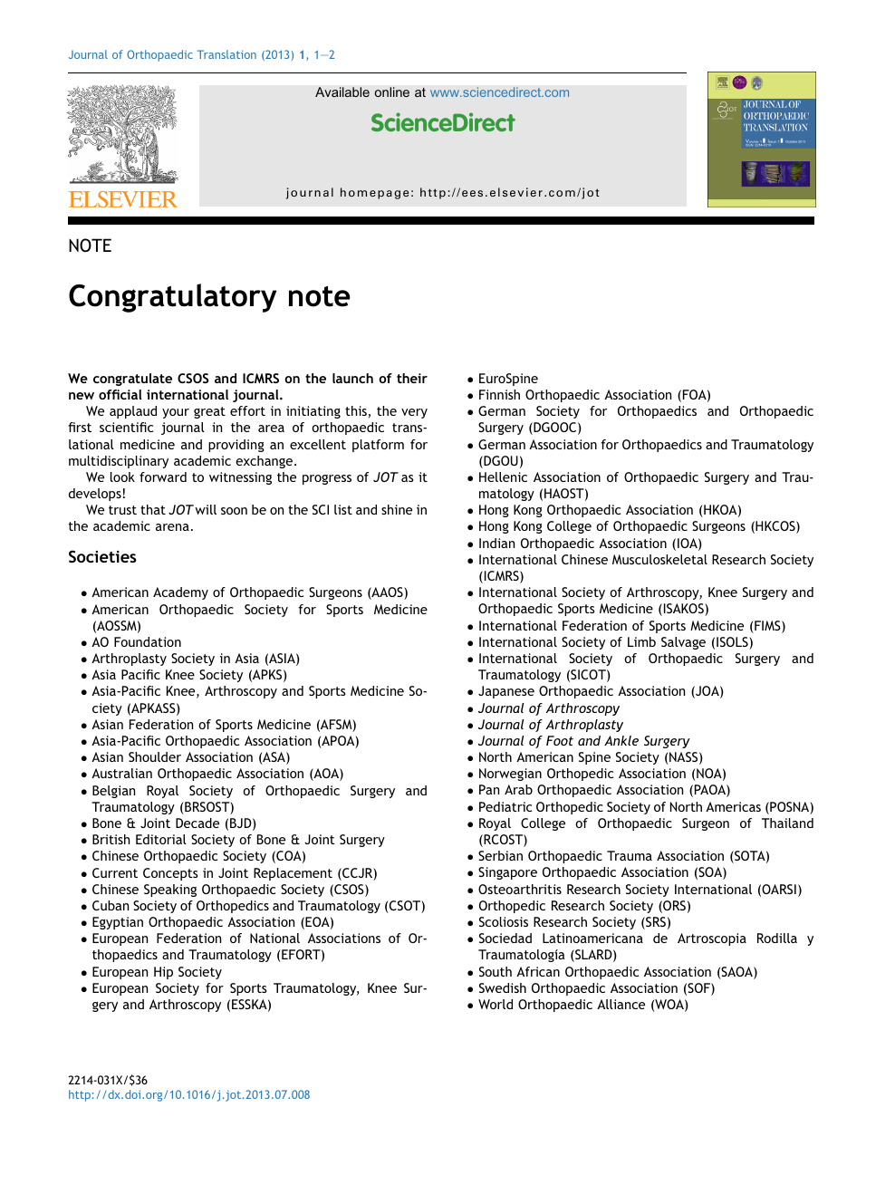 Congratulatory note – topic of research paper in Clinical