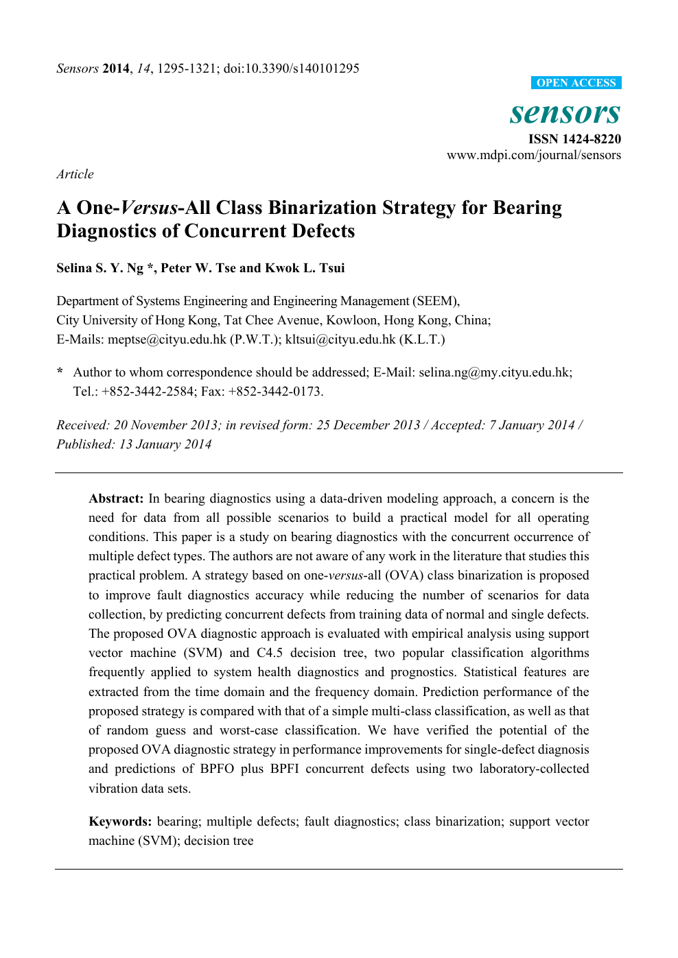 A One-Versus-All Class Binarization Strategy for Bearing