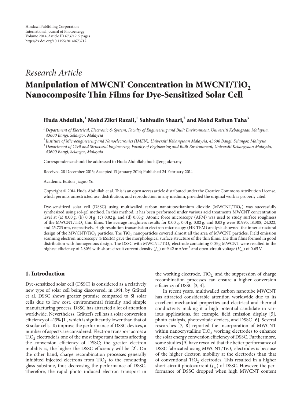 Manipulation of MWCNT Concentration in MWCNT/TiO 2 Nanocomposite