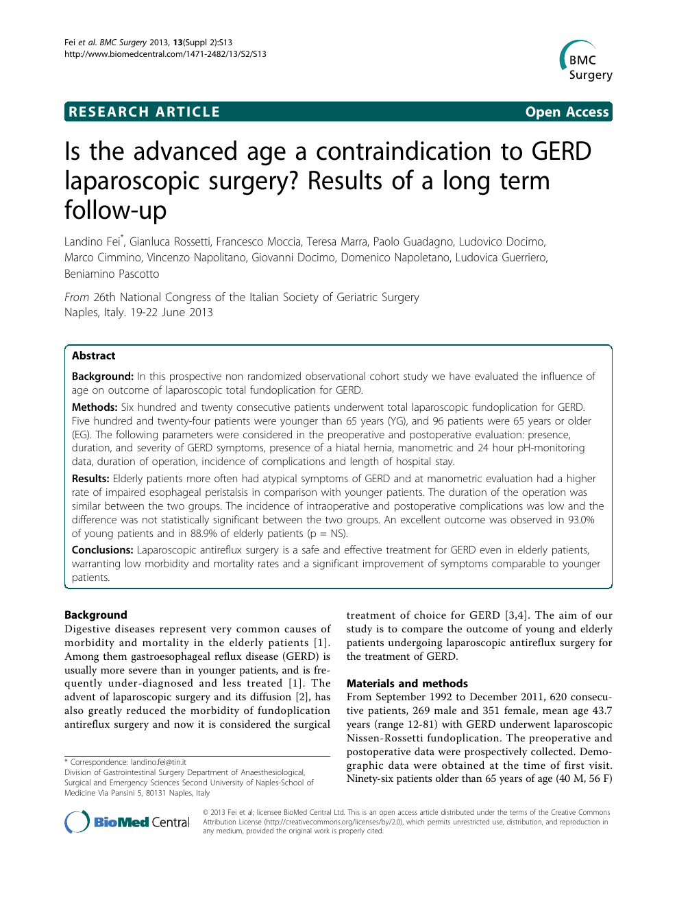 Is the advanced age a contraindication to GERD laparoscopic