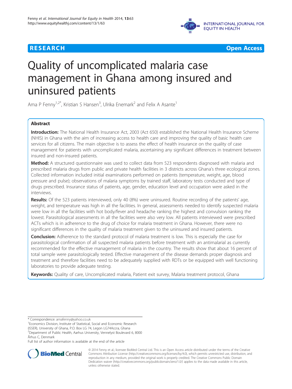 Quality of uncomplicated malaria case management in Ghana among