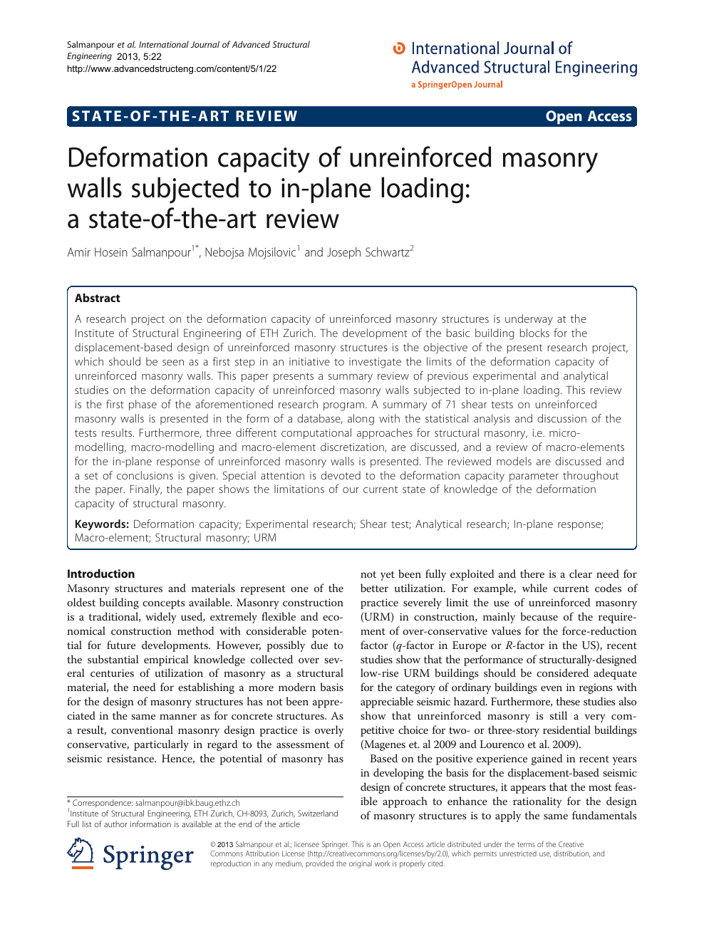 Deformation capacity of unreinforced masonry walls subjected to in