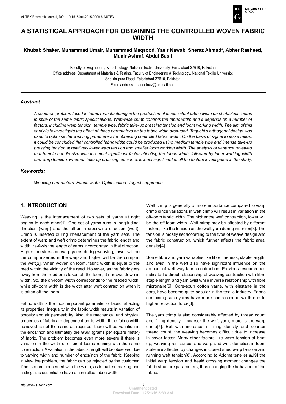A Statistical Approach For Obtaining The Controlled Woven Fabric Width Topic Of Research Paper In Materials Engineering Download Scholarly Article Pdf And Read For Free On Cyberleninka Open Science Hub